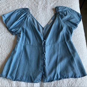Light blue Zara button up flounce top